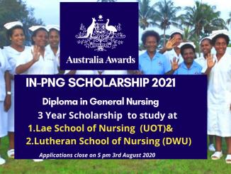 Australa Awards In-PNG Scholarships for Diploma in General Nursing