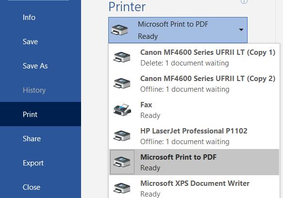 Print to Microsoft Pdf