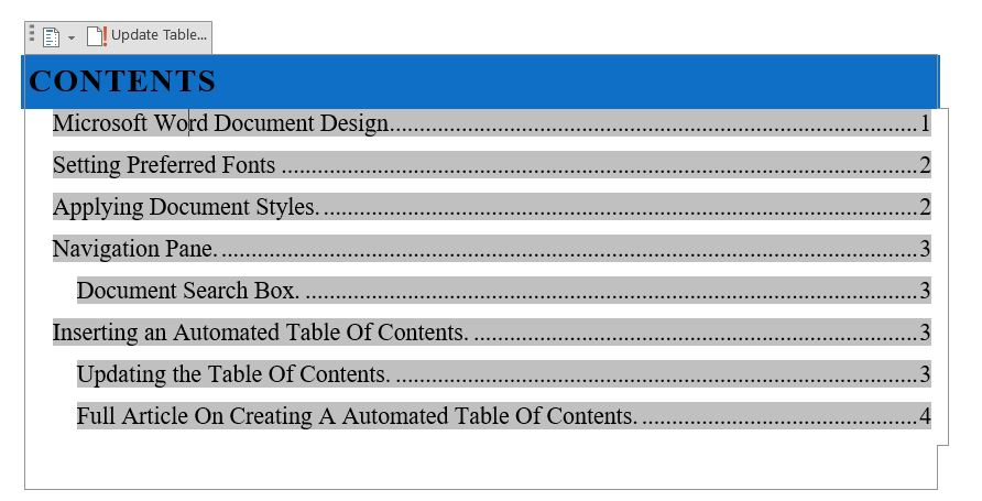 Automating a Table of Content in Word