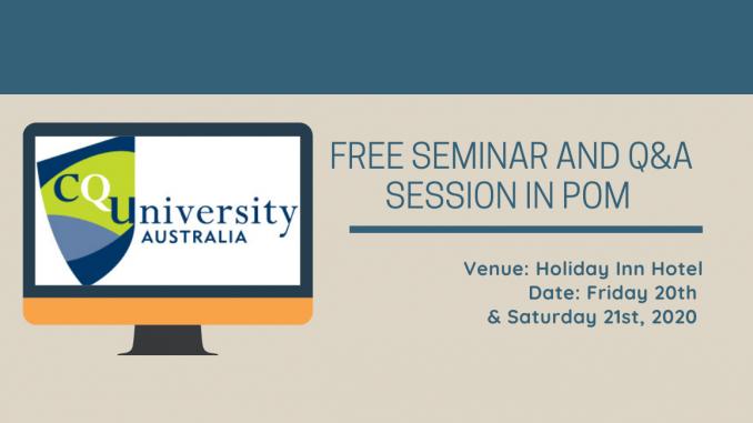 CQUniversity Australia PNG Session 2020