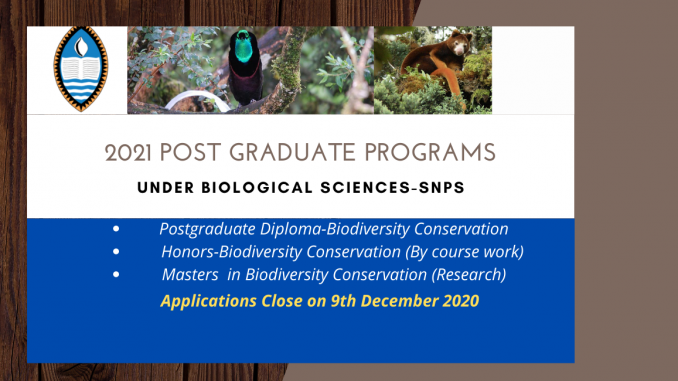 Post graduate programs at Biological Sciences at School Natural and Physical Sciences UPNG