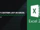 Create Custom list in Excel
