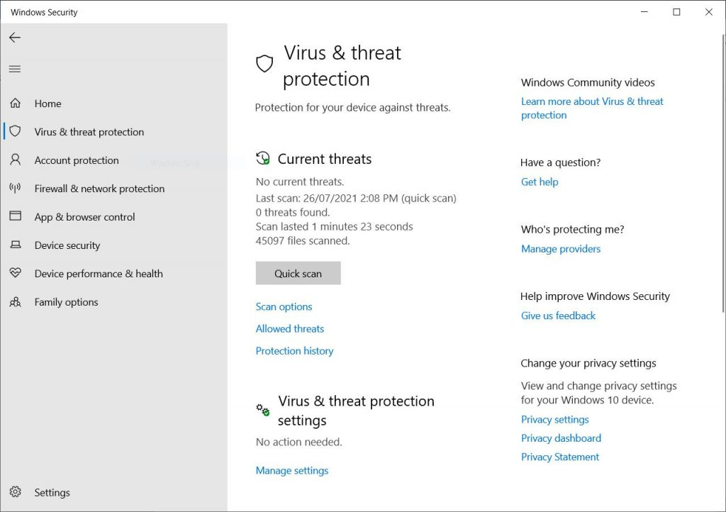 Windows 10 Windows  Security